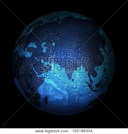 electronic digital planet earth on a black background