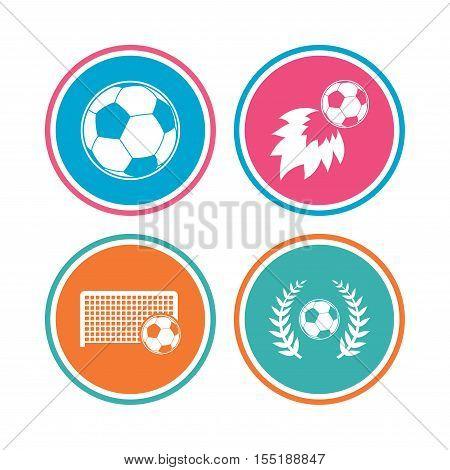 Football icons. Soccer ball sport sign. Goalkeeper gate symbol. Winner award laurel wreath. Goalscorer fireball. Colored circle buttons. Vector