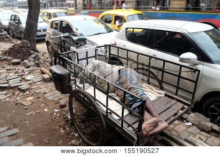 KOLKATA, INDIA - FEBRUARY 10: Homeless people sleeping on the footpath of Kolkata, India on February 10, 2016.