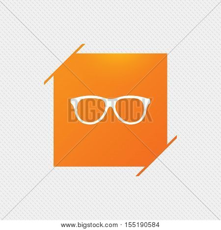 Retro glasses sign icon. Eyeglass frame symbol. Orange square label on pattern. Vector