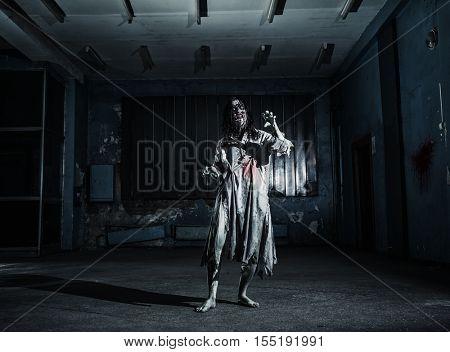 Portrait of the horror zombie woman. Halloween.