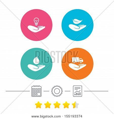 Helping hands icons. Intellectual property insurance symbol. Delivery truck sign. Save nature leaf and water drop. Calendar, cogwheel and report linear icons. Star vote ranking. Vector
