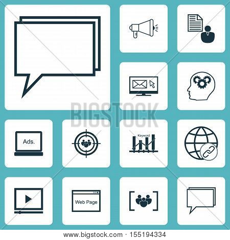Set Of Marketing Icons On Newsletter, Brain Process And Media Campaign Topics. Editable Vector Illus