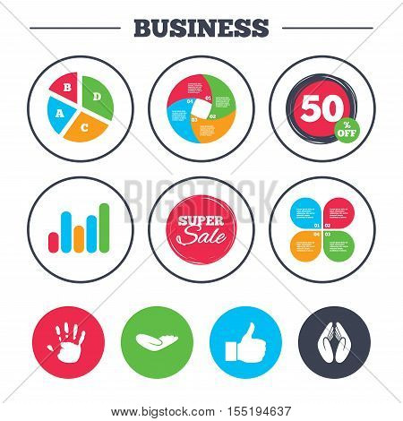 Business pie chart. Growth graph. Hand icons. Like thumb up symbol. Insurance protection sign. Human helping donation hand. Prayer hands. Super sale and discount buttons. Vector