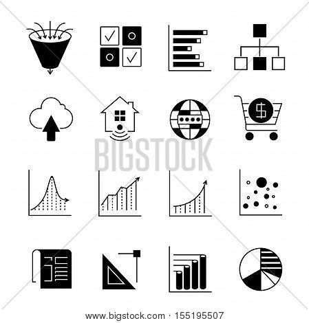 set 16 data icons on white background