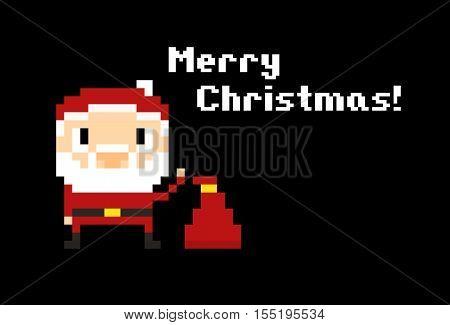 Pixel art Santa with his bag on black background