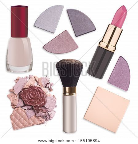 Various makeup products isolated on white background