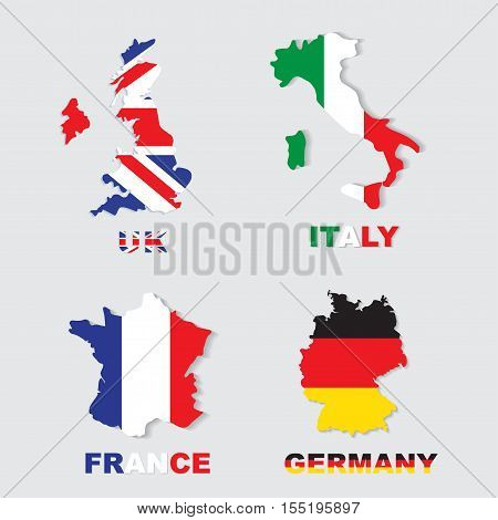 Germany Italy France UK colorful maps and flags