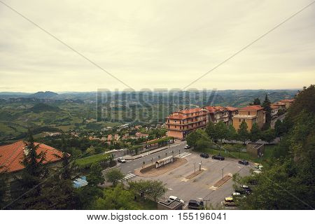 San Marino, Italy. Top view of a parking lot in San Marino.