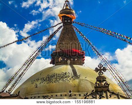 Detail of the Boudhanath stupa in Kathmandu Nepal