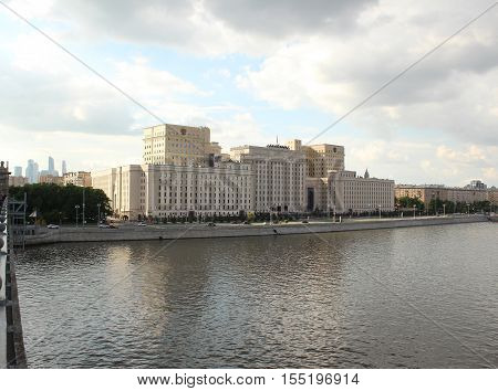 The building of the Russian Federation Ministry of Defence on Frunze Embankment. Moscow