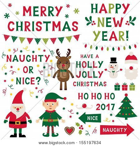 Christmas isolated vector characters (Santa, elf, reindeer) and lettering set, text in hand lettered font