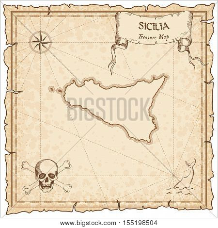 Sicilia Old Pirate Map. Sepia Engraved Parchment Template Of Treasure Island. Stylized Manuscript On