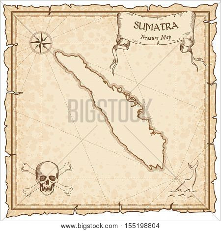Sumatra Old Pirate Map. Sepia Engraved Parchment Template Of Treasure Island. Stylized Manuscript On
