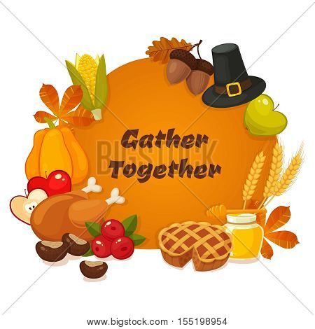 Gather together. Thanksgiving Day vector banner with traditional table plenty of food, roasted turkey, cornucopia with pumpkins, fruits and vegetables. Decoration for thanksgiving greeting cards