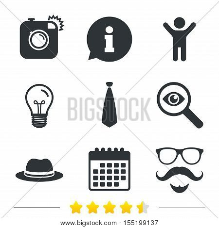 Hipster photo camera. Mustache with beard icon. Glasses and tie symbols. Classic hat headdress sign. Information, light bulb and calendar icons. Investigate magnifier. Vector