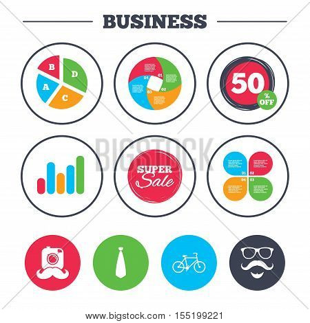 Business pie chart. Growth graph. Hipster photo camera. Mustache with beard icon. Glasses and tie symbols. Bicycle family vehicle sign. Super sale and discount buttons. Vector