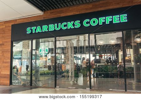 BANGKOK THAILAND - NOVEMBER 6 2016: Starbucks coffee inside Shopping Mall. Starbucks is the largest coffeehouse company in the world.