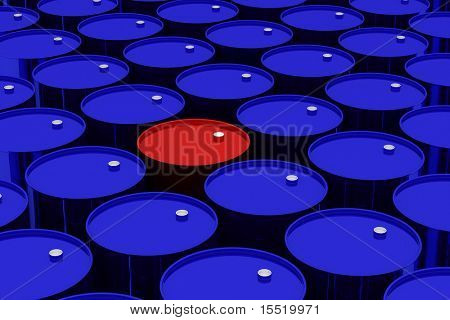 A lot of dark blue and one red vat. 3D image.