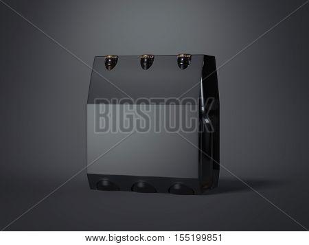 Black beer packaging with brown bottles on white floor. 3d rendering
