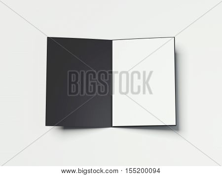 Opened black folder with white paper sheet on a white floor. 3d rendering