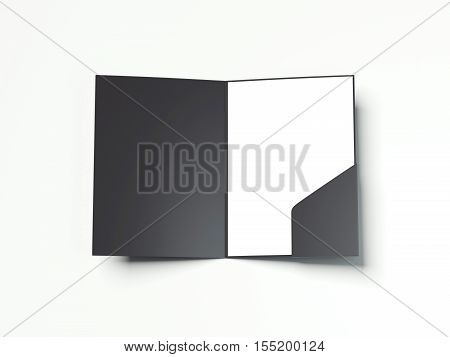 Opened black folder with paper sheet on a white floor. 3d rendering