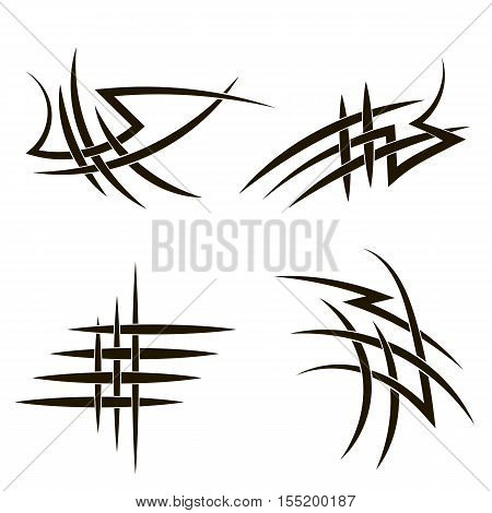 Set of Different Tribal Tattoo Design Isolated on White Background. Polynesian Design