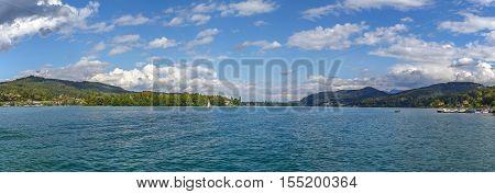 Panoramic view of the Worthersee lake Carinthia Austria
