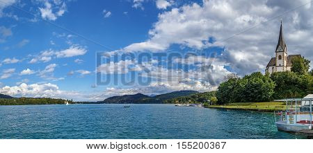 Panoramic view of the Worthersee lake with Maria Worth church Carinthia Austria