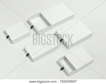 Opened white cardboard packages on gray floor. 3d rendering