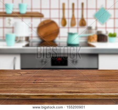 Wooden texture table on defocused modern kitchen background