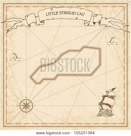 Little Stirrup Cay Old Treasure Map. Sepia Engraved Template Of Pirate Island Parchment. Stylized Ma