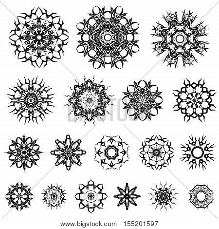 Set of Different Tribal Rosette Tattoo Design Isolated on White Background. Polynesian Design