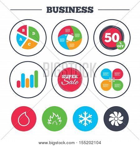 Business pie chart. Growth graph. HVAC icons. Heating, ventilating and air conditioning symbols. Water supply. Climate control technology signs. Super sale and discount buttons. Vector