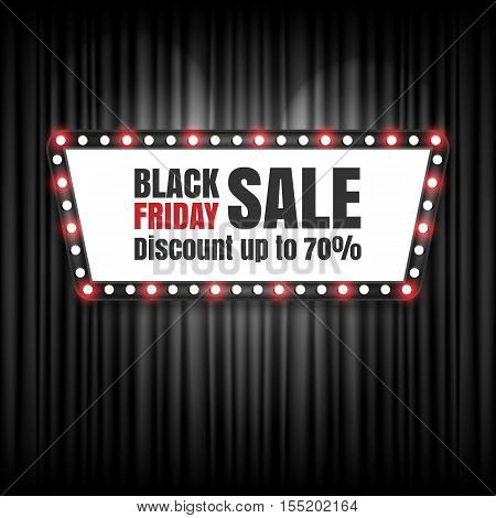 Black friday sale retro sign, Black Friday banner. Vector