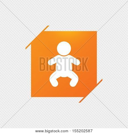 Baby infant sign icon. Toddler boy in pajamas or crawlers body symbol. Child WC toilet. Orange square label on pattern. Vector