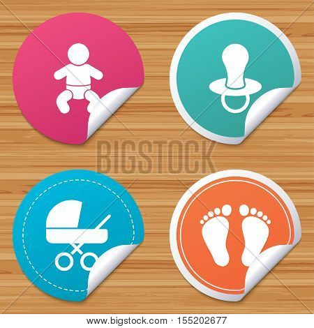 Round stickers or website banners. Baby infants icons. Toddler boy with diapers symbol. Buggy and dummy signs. Child pacifier and pram stroller. Child footprint step sign. Vector