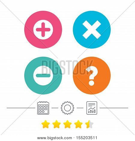 Plus and minus icons. Delete and question FAQ mark signs. Enlarge zoom symbol. Calendar, cogwheel and report linear icons. Star vote ranking. Vector