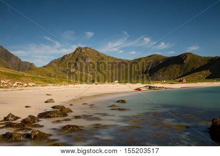 Haukland beach under a blue sky - Long exposure version Lofoten Norway