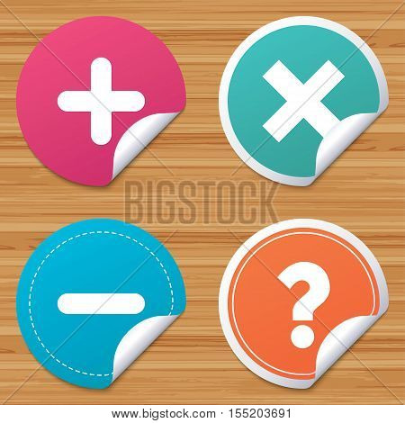 Round stickers or website banners. Plus and minus icons. Delete and question FAQ mark signs. Enlarge zoom symbol. Circle badges with bended corner. Vector