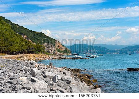 Beach with cliffs in the Palmaria island (Isola di Palmaria) in the Gulf of La Spezia Liguria Italy Europe