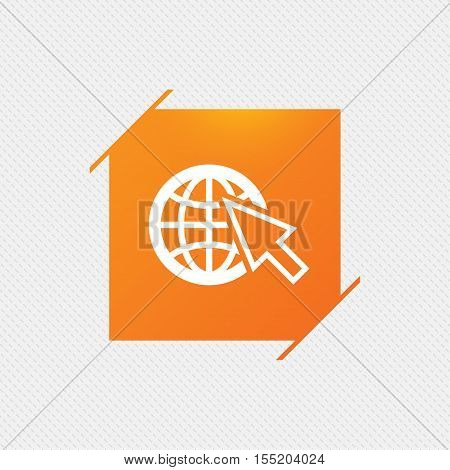 Internet sign icon. World wide web symbol. Cursor pointer. Orange square label on pattern. Vector