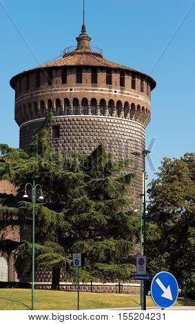 Torrione di Santo Spirito (Tower of Holy Spirit) Sforza Castle XV century (Castello Sforzesco). Milan Lombardy Italy