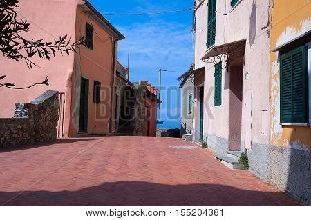 The ancient small village of Tellaro near Lerici La Spezia in the Golfo dei Poeti (Gulf of poets or Gulf of La Spezia) Italy