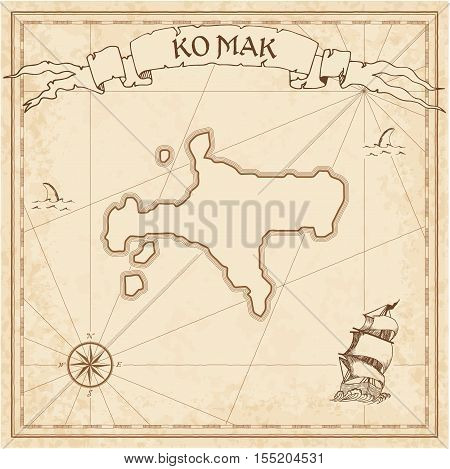 Ko Mak Old Treasure Map. Sepia Engraved Template Of Pirate Island Parchment. Stylized Manuscript On