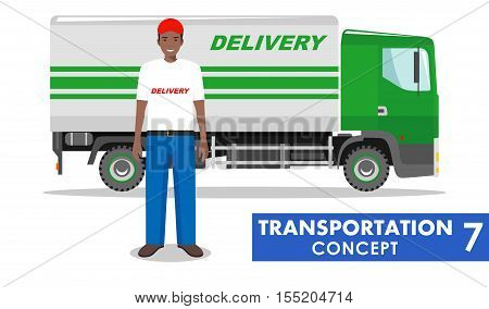 Detailed illustration of delivery truck and african american driver on white background in flat style.