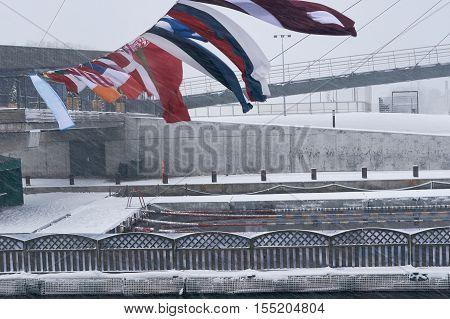 Winter Swimming Pool Snowfall