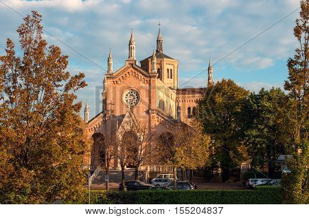Church of Madonna delle Grazie. Pordenone Italy. Photographed in the evening in October.