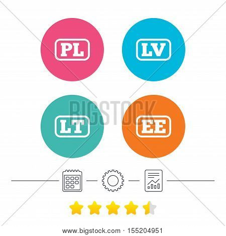 Language icons. PL, LV, LT and EE translation symbols. Poland, Latvia, Lithuania and Estonia languages. Calendar, cogwheel and report linear icons. Star vote ranking. Vector