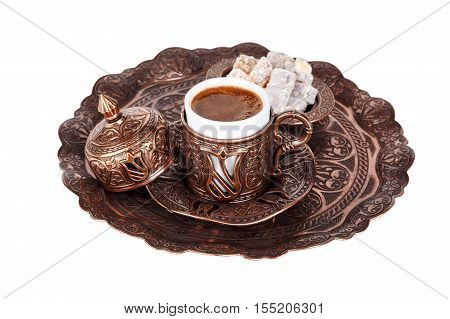 Cup Of Turkish Coffee And Delights